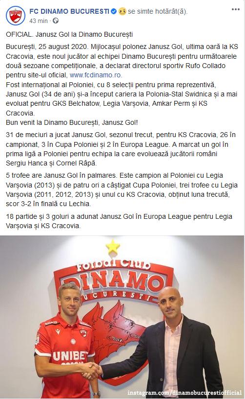 Primul transfer extern pentru Dinamo dupa venirea spaniolor! Jucatorul a fost prezentat oficial: Janusz Gol e anuntat ca o mare lovitura