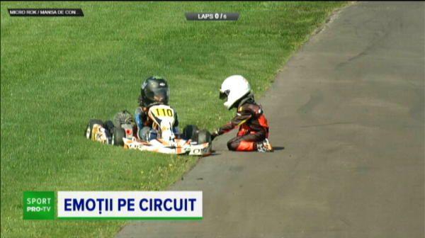 Era s-o pateasca pe pista la viteza maxima! Pustiul de 7 ani le-a dat emotii tuturor dupa accidentul suferit la Romanian Karting Masters
