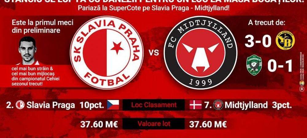 (P) Liga Campionilor îți pregătește un SuperDerby: Slavia Praga – Midtjylland! Ești gata să pariezi?