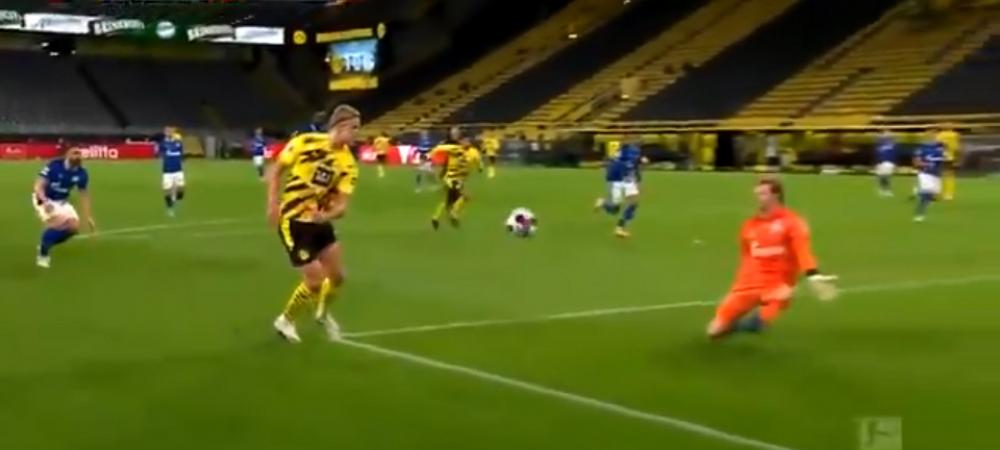 Clasa MONDIALA! Haaland, gol FANTASTIC in derby-ul cu Schalke! Unul dintr-o suta de atacanti mai reusea executia asta PERFECTA
