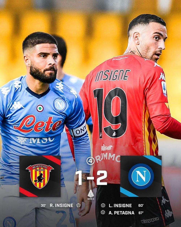 Cea mai tare faza a zilei: derby intre fratii Insigne la Benevento-Napoli! Amandoi au marcat. Lorenzo, reusita MONDIALA