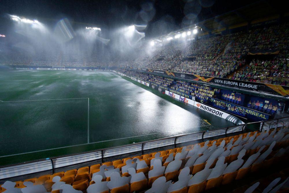 Imagini IREALE din Spania! Au crezut ca a venit POTOPUL fix inainte de meci! Startul meciului Villarreal - Maccabi Tel Aviv, amanat dupa o ploaie INFERNALA