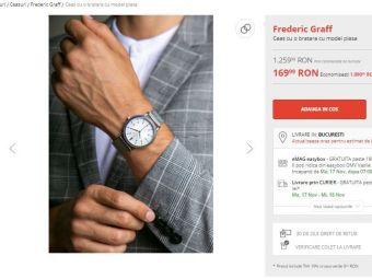 Reduceri de 86% la ceasuri pe Fashion Days! Oferta bomba de Black Friday: ceas Frederic Graff la 169.99 LEI, redus de la 1259.99