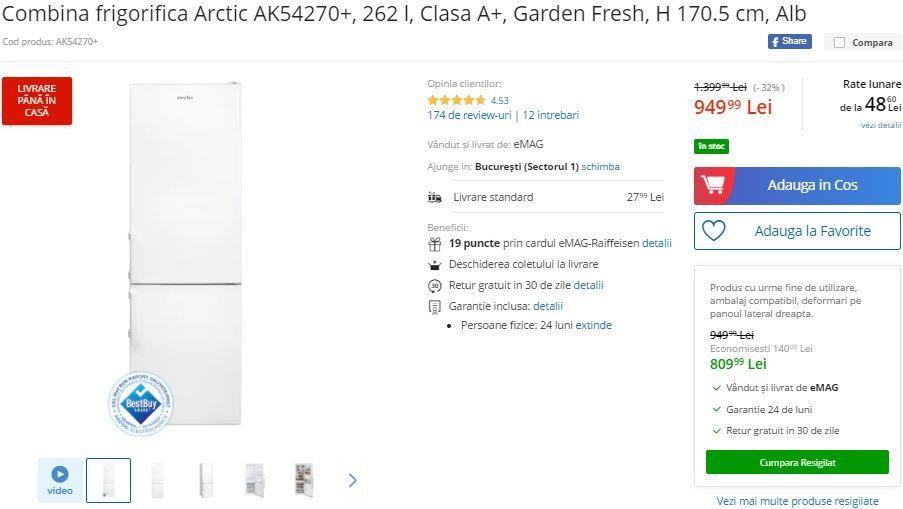 Combina frigorifica Arctic redusa de la 1399 de lei la 949 de lei! Imprimanta laser color HP redusa cu 33%! Este doar 599 de lei!