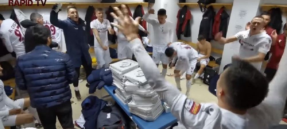 """Rapidistii s-au DEZLANTUIT in vestiar dupa victoria cu """"U"""" Cluj! Ce au facut jucatorii dupa meci"""