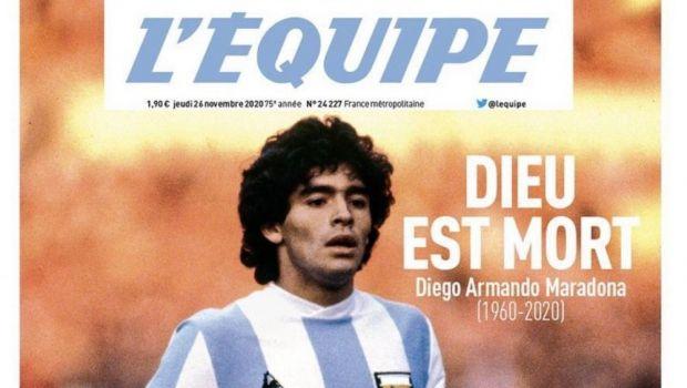 """""""Dumnezeu a murit!"""" Prima pagina COLOSALA a L'Equipe dupa moartea lui Maradona! Cum va fi publicat ziarul joi"""