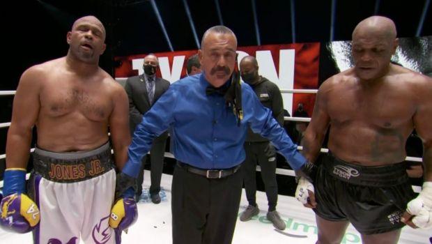 "SHOW FANTASTIC intre Tyson si Roy Jones Jr.! MECI MONDIAL la revenirea lui Mike dupa 15 ani: EGALITATE! Tyson: ""Trebuia sa castig!"""