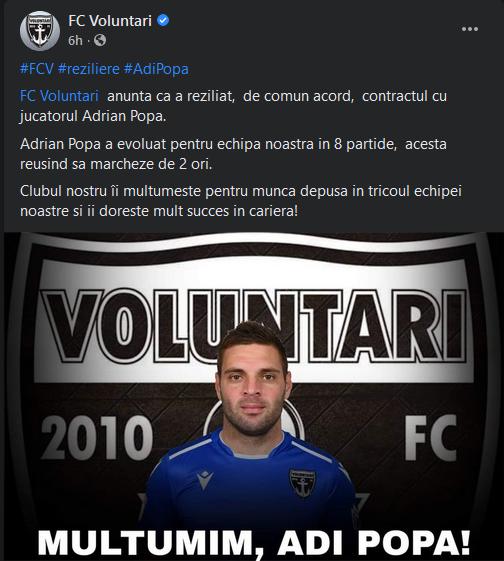 BREAKING NEWS: Adi Popa, OUT de la FC Voluntari! A plecat, desi parea sa fie in cea mai buna forma din ultimii ani