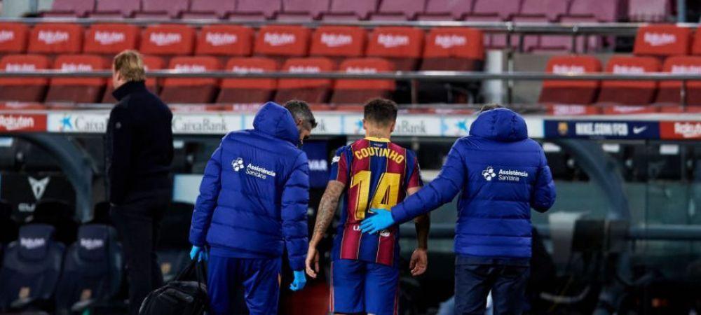 Coutinho a fost operat dupa accidentarea din meciul cu Eibar! Cat va lipsi de pe teren brazilianul