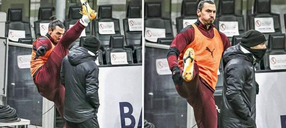 VIDEO FABULOS! Cum s-a incalzit Zlatan pe marginea terenului: s-a folosit de un om din staff si a SOCAT pe toata lumea cu miscarile facute