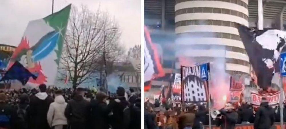 Derby-ul dintre Inter si Milan a batut pandemia! Imagini SENZATIONALE cu fanii celor doua rivale in fata stadionului