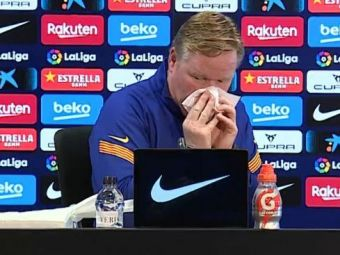 Moment SOCANT la conferinta de presa a lui Ronald Koeman! Antrenorului olandez i-a curs SANGE din nas din cauza problemelor cu inima!