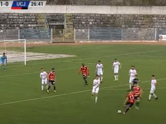 Gol senzational reusit de U Cluj in meciul de la Slatina! Taub a adus aminte de legendarul Roberto Carlos cu un sut fantastic de la 25 de metri!