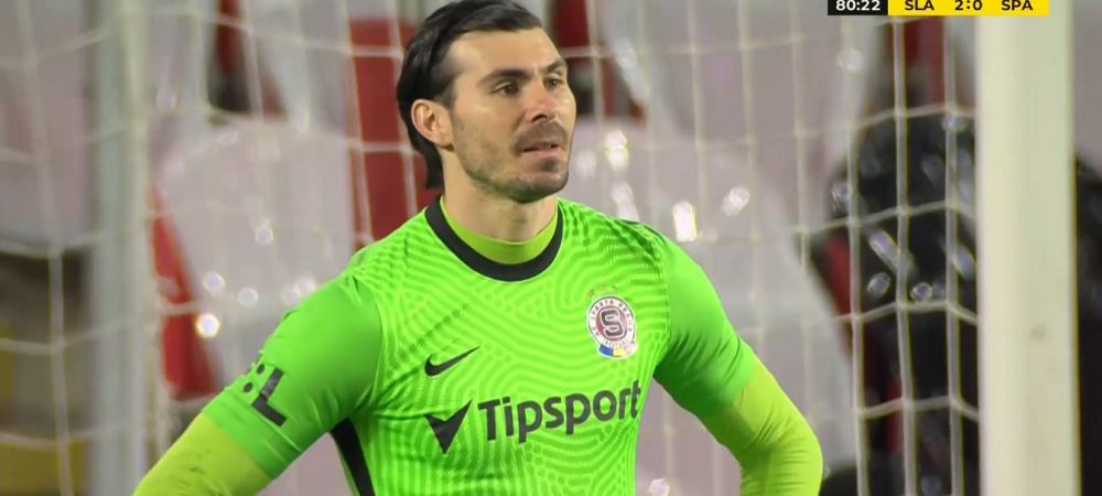 Tiki-taka Stanciu la Slavia! Pasa de gol, Nita a sarit fantastic, dar mingea a luat un efect inuman. Portarul nationalei, batut de o torpila in vinclu la golul 2