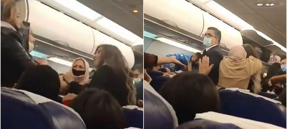 Momente incredibile la bordul unui avion! Pasagerii s-au luat la bataie! Totul a fost filmat