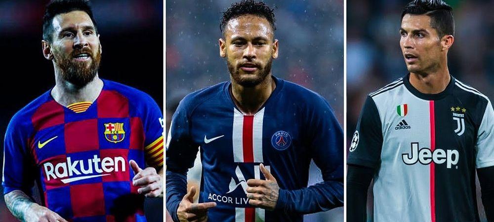 Sume fabuloase incasate de Messi, Ronaldo si Neymar in plina pandemie! Cum arata topul celor mai bine platiti fotbalisti din 2020