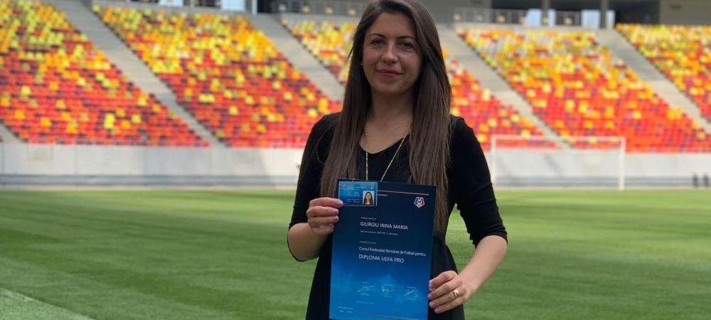 Irina Giurgiu, prima femeie antrenor din Romania cu licenta UEFA Pro!Cine este si unde antreneaza