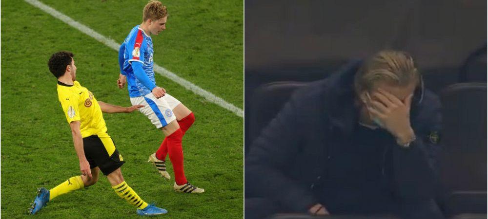 Accidentare horror la meciul lui Dortmund! Haaland nici nu s-a putut uita la coechipierul sau! Atentie, imagini cu puternic impact emotional
