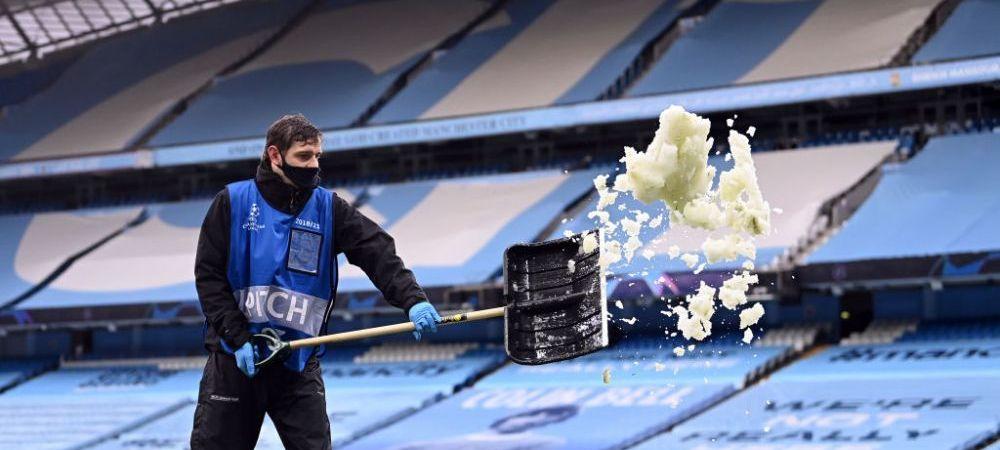 Asa ceva nu s-a mai vazut! Zapada in luna mai la Manchester! Imagini incredibile cu gazonul de pe Etihad