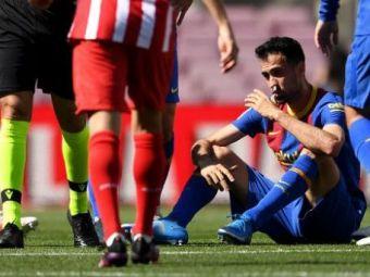 Busquets, fractura la maxilar! Fotbalistul Barcelonei, dus de urgenta la spital in timpul meciului cu Atletico
