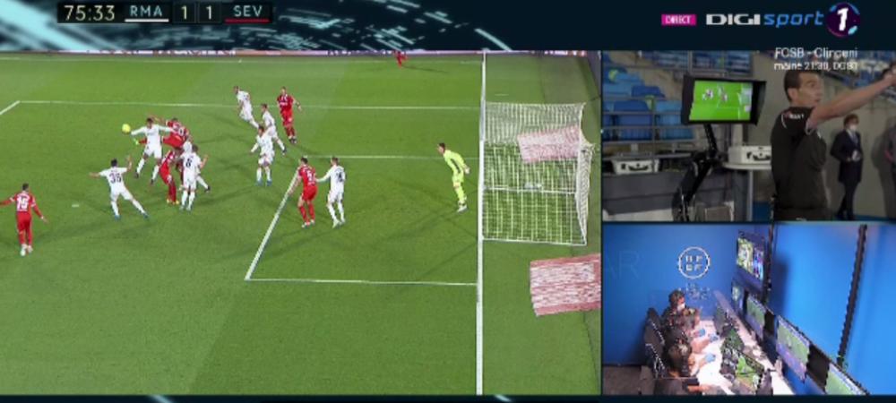 ISTORIC! VAR show la Real - Sevilla: penalty pentru ambele echipe la distanta de cateva secunde! Arbitrul s-a dus sa vada totul pe monitor. E faza care face inconjurul planetei
