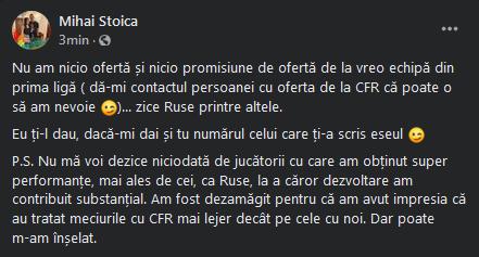 BREAKING NEWS   Reactie de ultima ora a lui MM Stoica dupa mesajul lui Rusescu: