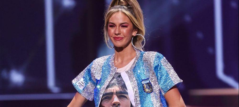 Imagini fabuloase! Miss Argentina i-a adus omagiu lui Maradona intr-un mod incredibil! A iesit pe scena in echipamentul nationalei