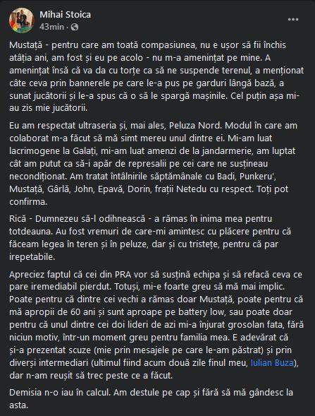 BREAKING NEWS   Reactie de ultima ora a lui Mihai Stoica dupa ce ultrasii i-au cerut sa plece urgent de la echipa: