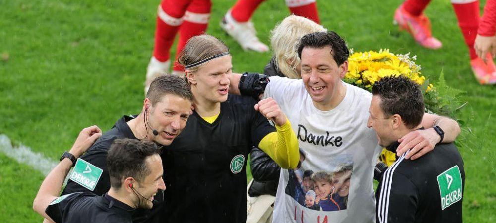 """Gest superb al lui Erling Haaland dupa o noua """"dubla"""" in Bundesliga! A facut schimb de tricouri cu arbitrul, aflat la ultimul meci din cariera"""