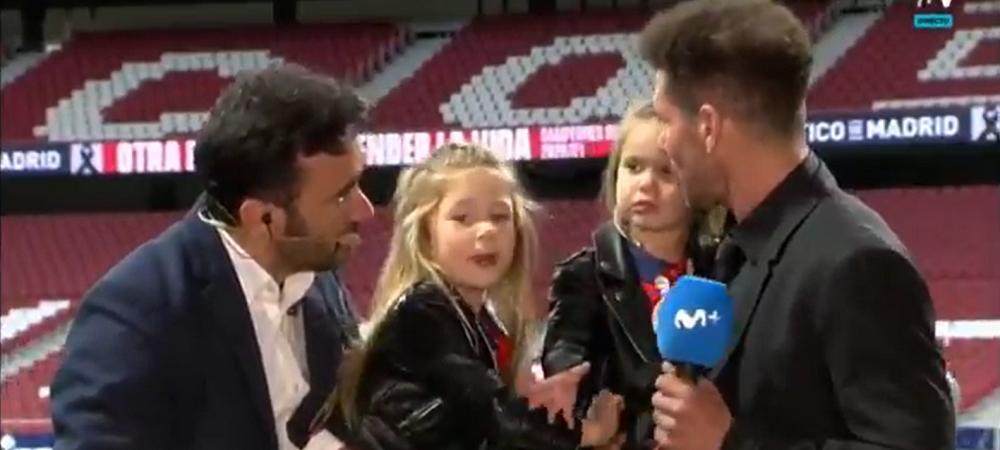 Astea-s imaginile momentului! :) Fetitele lui Simeone au ajuns virale dupa ce Atletico a cucerit titlul! Ce au facut in direct la TV