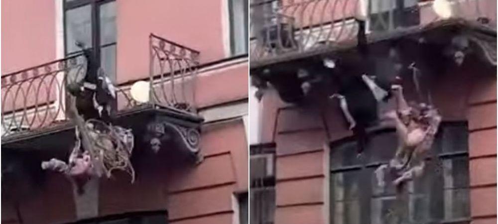 Clipe de teroare pentru un cuplu! Au cazut de la balcon in timp ce se certau! Totul a fost surprins pe camere