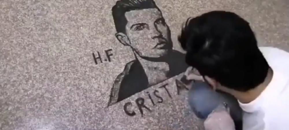 Imagini geniale! Un frizer i-a facut portretul lui Cristiano Ronaldo din resturi de par! Imaginea care a devenit rapid virala