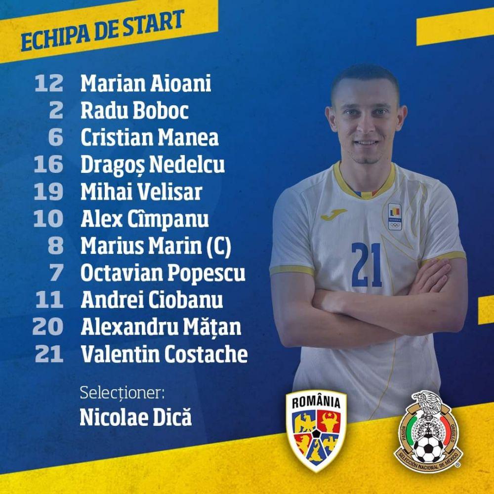 ACUM LIVE: Romania U23 0-0 Mexic U23! Tavi Popescu e titular. Cum arata primul 11 al lui Dica