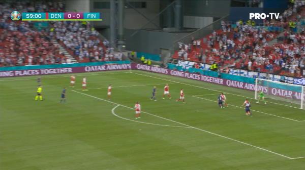 Danemarca 0-1 Finlanda! Finlanda castiga primul ei meci din istorie la Euro! Hradecky a scos un penalty.  AICI sunt fazele video