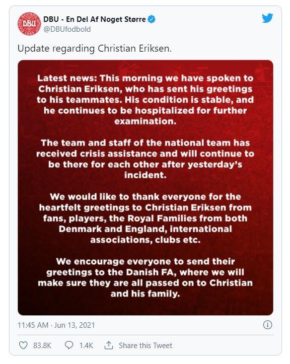 NEWS ALERT   Federatia daneza a dat publicitatii noi detalii despre starea lui Christian Eriksen