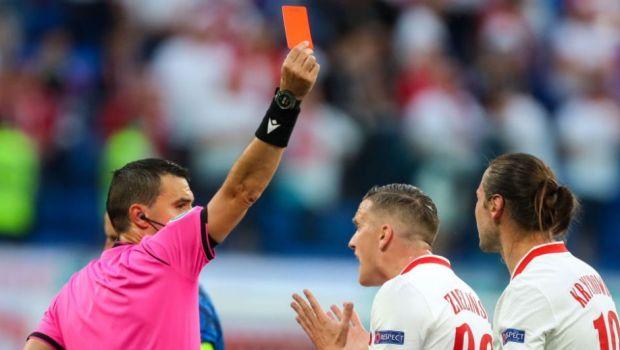 Hategan a aratat primul cartonas rosu de la Euro! Krychowiak a parasit terenul in lacrimi