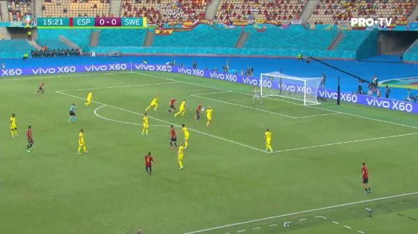 Dani Olmo primeste centrare in fata portii si trimite cu capul, dar portarul intervine in ultimul moment si respinge