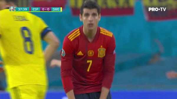 Ocazie imensa pentru Spania! Morata a ramas singur cu portarul si a trimis pe langa poarta