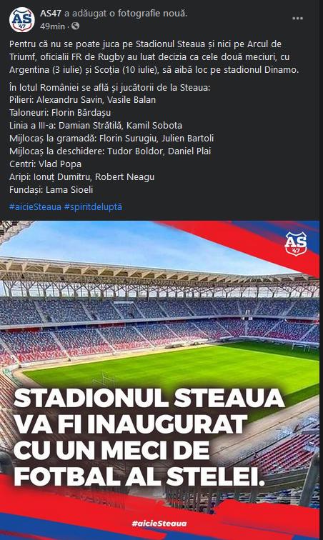 BREAKING NEWS | Anunt de ultima ora despre stadionul Steaua! Ce se intampla dupa anuntul ca un meci de rugby va fi primul jucat pe bijuteria de 100 de milioane de euro
