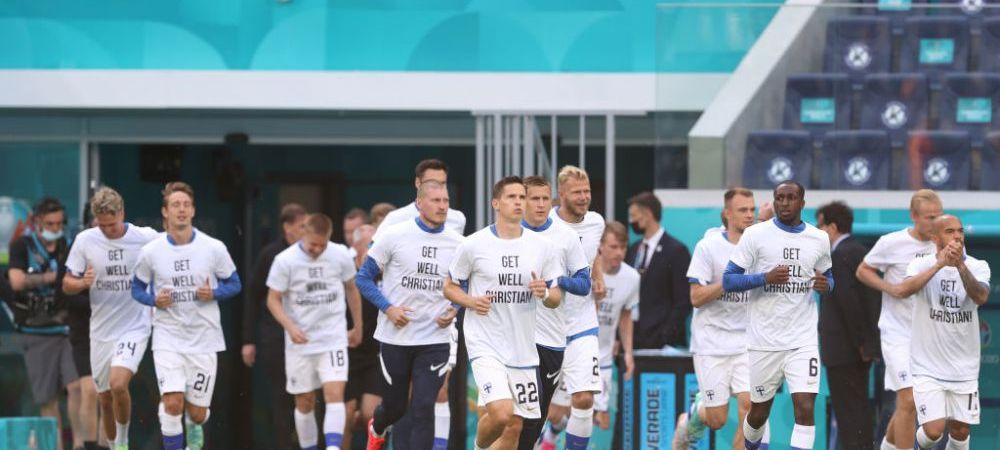 Momentul zilei, oferit de Finlanda! Jucatorii finlandezi au purtat tricouri cu mesaje pentru Eriksen