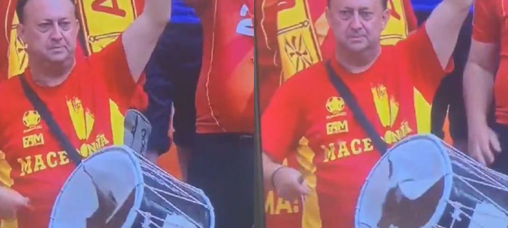 Asa ceva nu vezi decat pe Arena Nationala! Un fan macedonean s-a entuziasmat prea mult si a continuat sa bata intr-o toba sparta! :)