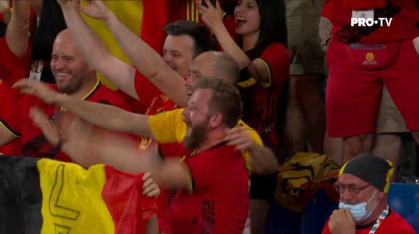 GOOOOOOOL BELGIA! De Bruyne ii paseaza perfect lui Lukaku pe centru, atacantul se intoarce si il invinge pe portar cu un sut pe jos, la colt