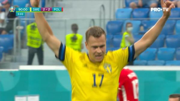 GOOOOOOL Suedia! Placheta marcheaza golul vitoriei pentru Suedia. Nordicii incheie pe primul loc in Grupa E