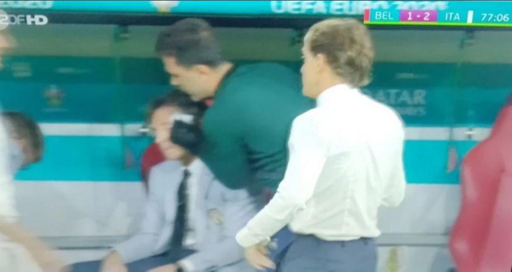 Nimeni n-a vazut asta! Antrenorul Italiei a primit ingrijiri medicale chiar in timpul meciului de infarct cu Belgia