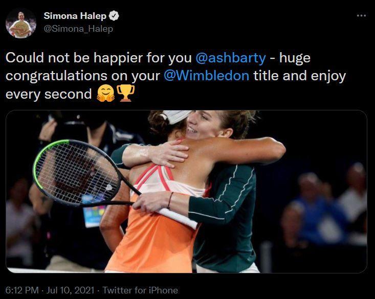 Mesajul Simonei Halep pentru Ashleigh Barty, dupa ce romanca si-a pierdut statutul de campioana en-titre a turneului de la Wimbledon! Cate locuri va cadea romanca in clasamentul WTA