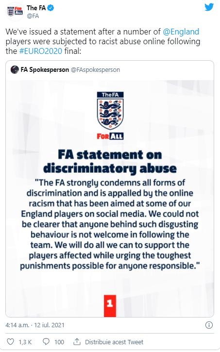 Reactia federatiei engleze, dupa finala Campionatului European de fotbal: