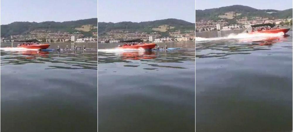 Imagini tulburatoare! Un caiac cu patru sportivi de la CS Orsova, spulberat de o barca plina cu turisti