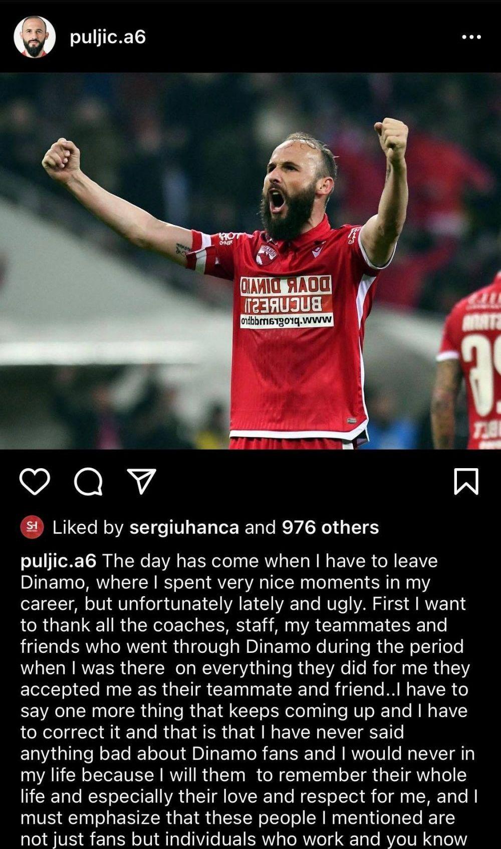 """Ante Puljic i-a iertat pe cei din DDB! Mesajul postat de fundasul croat, la o saptamana de cand s-a declarat deranjat de comportamentul suporterilor"""""""