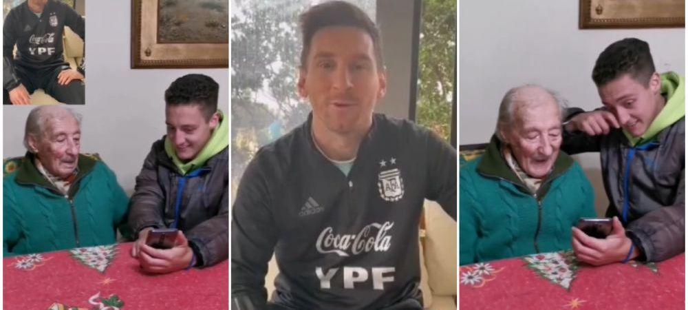 """""""Nu-mi spune ca e Messi"""". Gestul impresionant facut de starul argentinian pentru un fan de 100 de ani a facut inconjurul lumii VIDEO"""