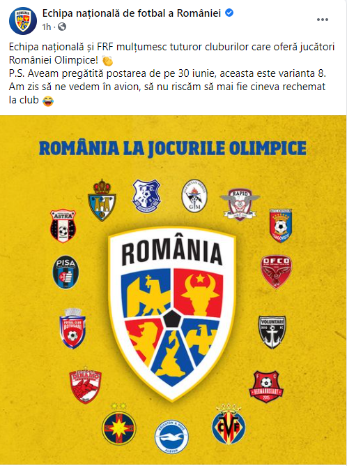 FRF le raspunde cu aceeasi moneda cluburilor care au refuzat sa trimita jucatori la Olimpiada! Mesajul genial publicat de nationala de fotbal a Romaniei :)